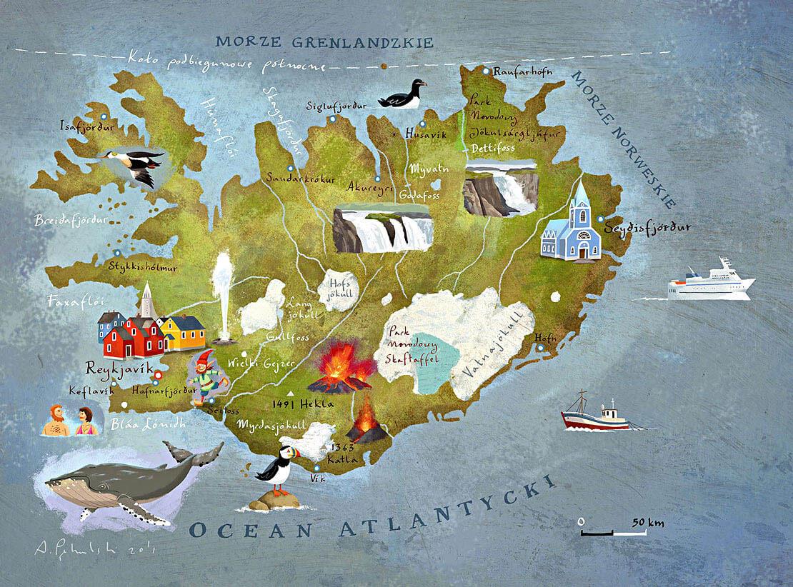 Islandia mapa rysunkowa