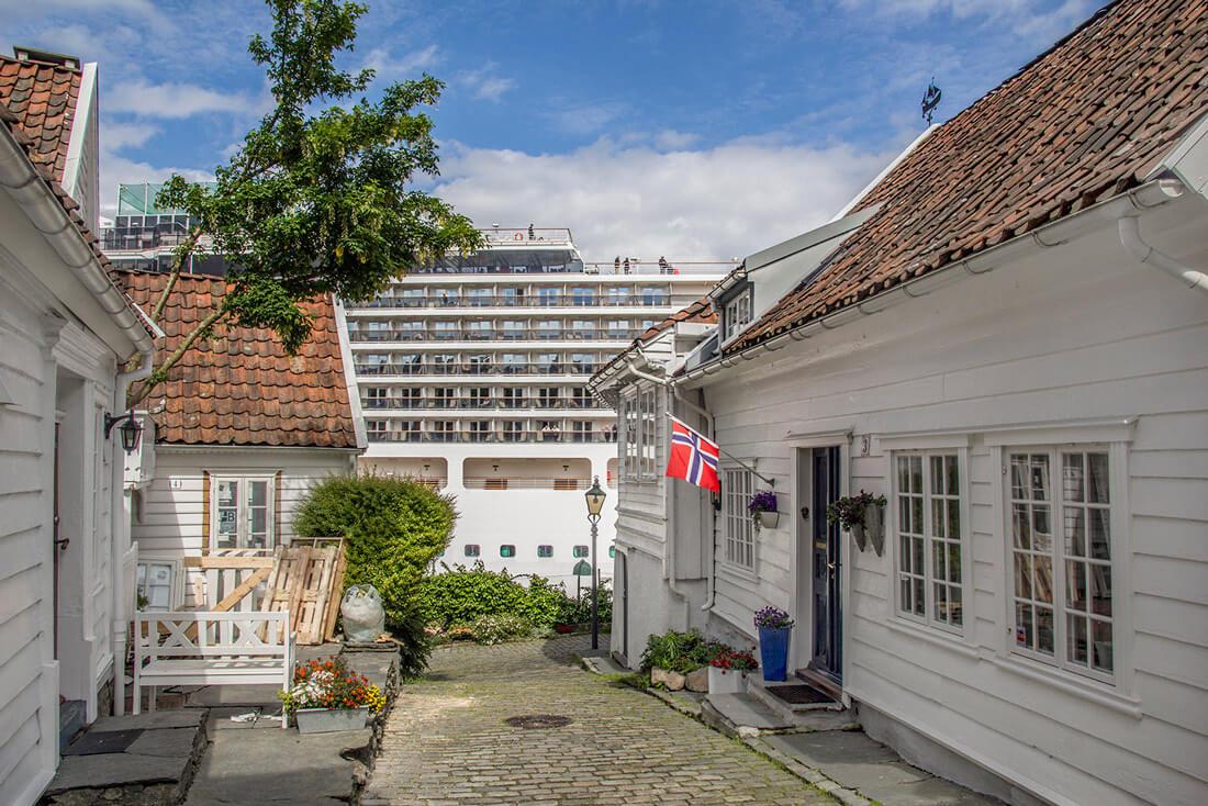 Norwegia, Stavanger, stare miasto, uliczka