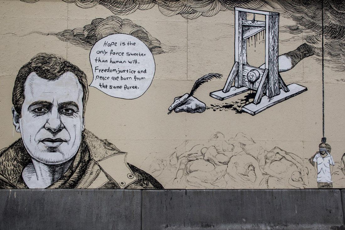 Norwegia Oslo w jeden dzień Centrum Pokojowe Nobla mural