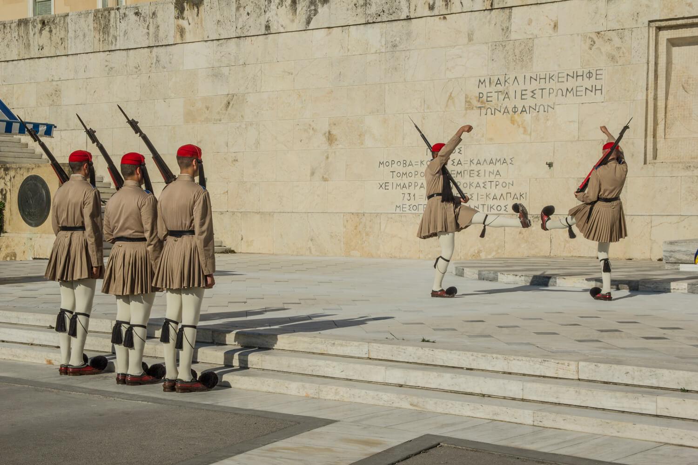 Grecja, Ateny, zmiana warty pod parlamentem