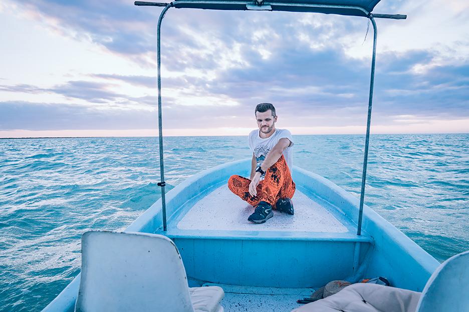 Jukatan, zachód słońca na łodzi