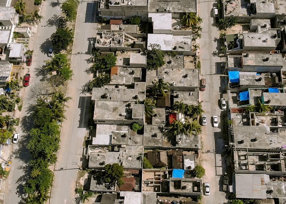 Akumal. Widok z drona na miasteczko