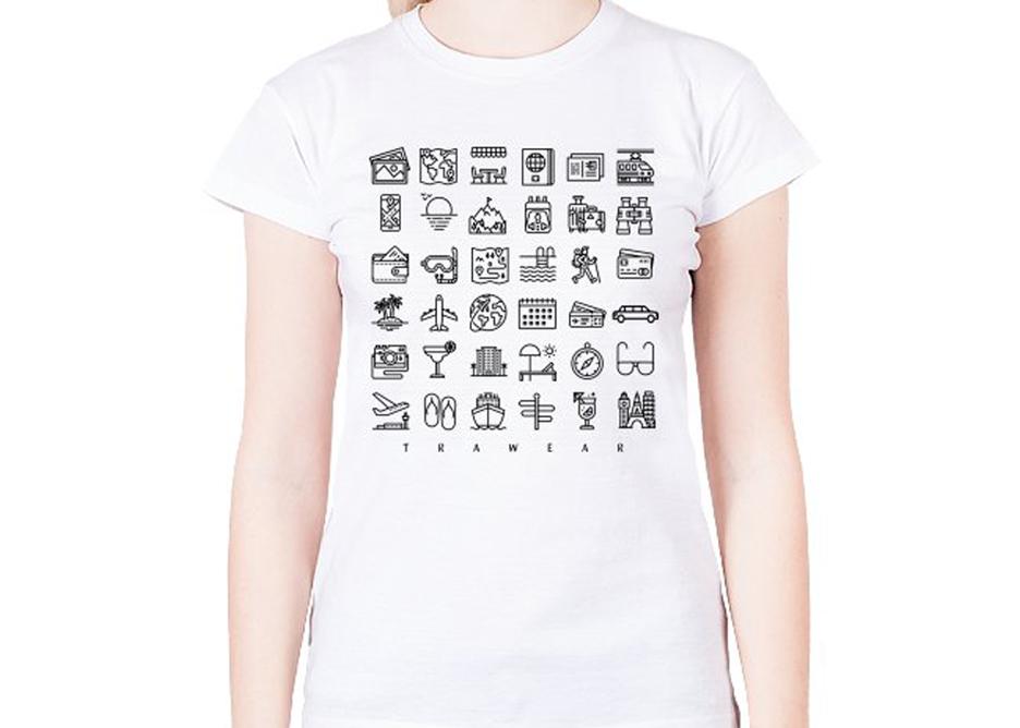 Prezent dla podróżnika, koszulka z ikonami