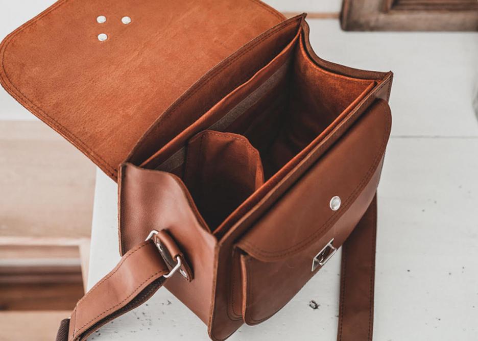Prezent dla podróżnika, skórzana torebka fotograficzna