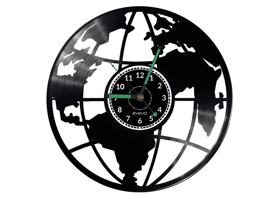 Zegar ścienny z mapą świata